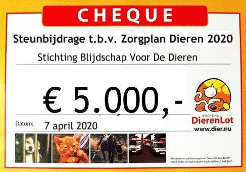 Cheque Dierenlot - vrienden van BVDD